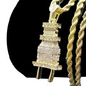 Other - Electric Plug Iced Out Hip Hop Jewelry Necklace